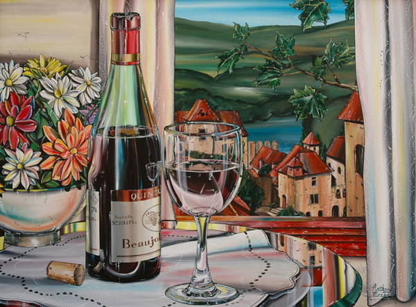 Vino Painting - Wine With River View by Anthony Mezza