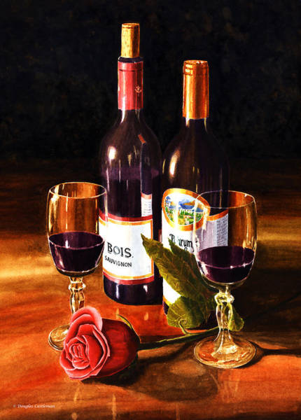 Wine With Rose Art Print