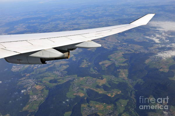 Wall Art - Photograph - Wing Of Flying Airplane Over German Villages by Sami Sarkis