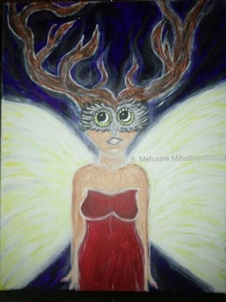 B. Melusine Mihaltses Wall Art - Painting - Winged Deer Woman Transformation by B Melusine Mihaltses