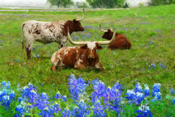 Longhorns Wall Art - Painting - Da157 Winkin Blinkin And Nod Daniel Adams  by Daniel Adams