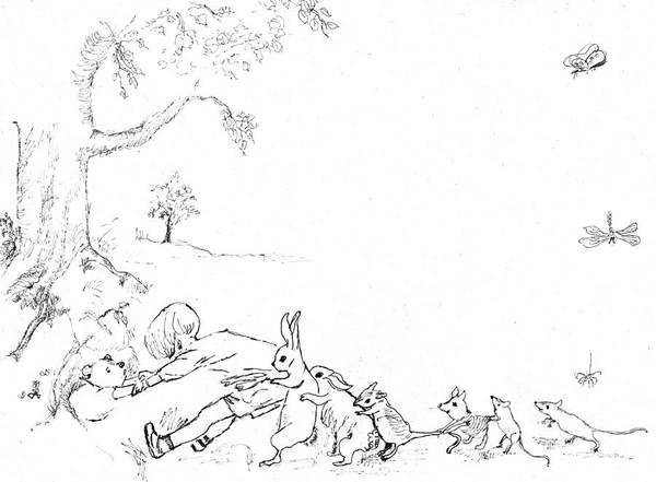 Classroom Painting - Winnie The Pooh And Crew In Pen  And Ink After E H Shepard by Maria Hunt