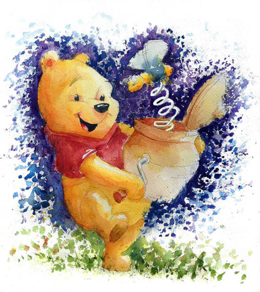 Disney Wall Art - Painting - Winnie The Pooh And Honey Pot by Andrew Fling