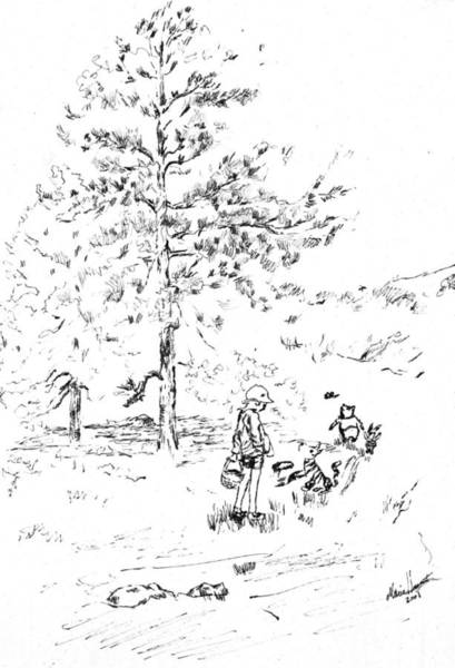 Wall Art - Painting - Winnie The Pooh Goes On A Picnic   After E H Shepard by Maria Hunt