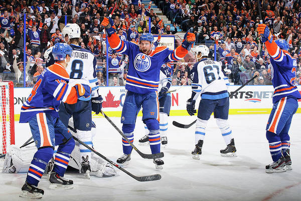 Scoring Photograph - Winnipeg Jets V Edmonton Oilers by Derek Leung