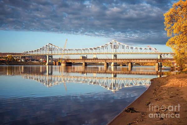 Photograph - Winona Bridge In Fall 2x3 by Kari Yearous