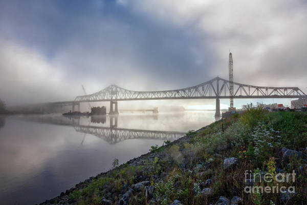 Photograph - Winona Bridge With Fog by Kari Yearous