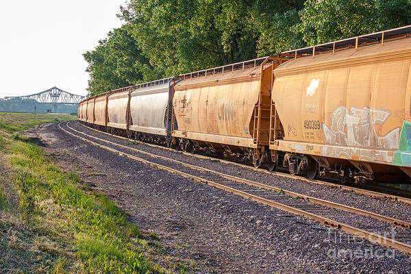 Photograph - Winona Mn Train Scene With Bridge by Kari Yearous