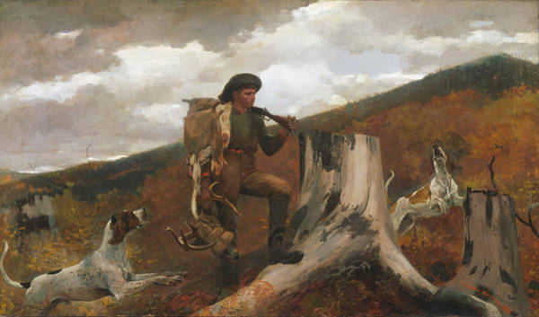 Wall Art - Painting - Winslow Homer A Huntsman And Dogs by Winslow Homer