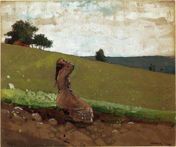 Wall Art - Drawing - Winslow Homer American, 1836 - 1910, The Green Hill by Quint Lox