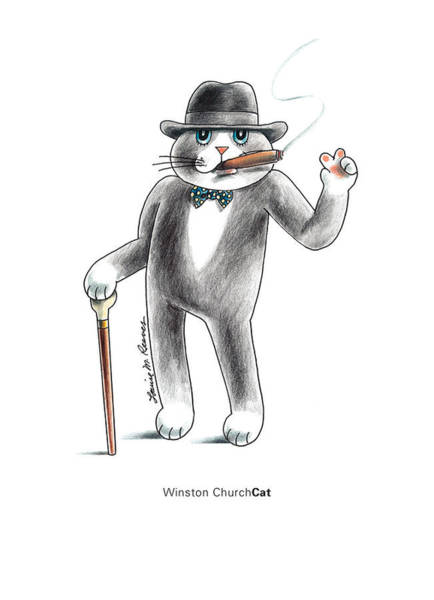 Pussycat Drawing - Winston Churchcat by Louise McClain Reeves