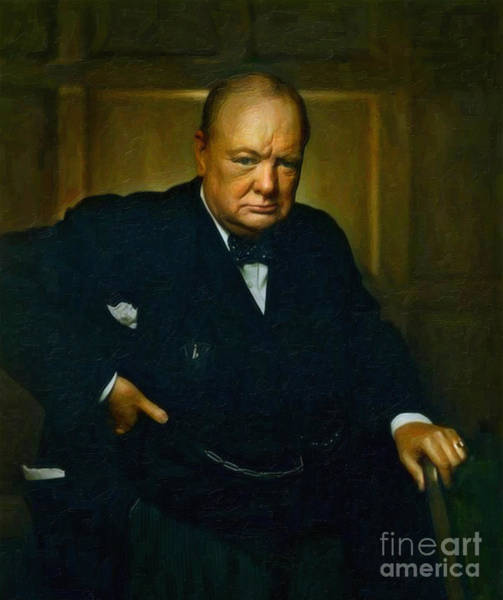 Election Wall Art - Painting - Winston Churchill by Adam Asar