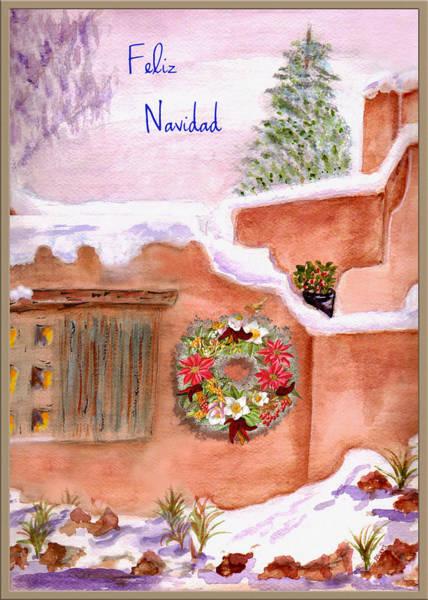 Wall Art - Mixed Media - Winter Adobe Feliz Navidad Card by Paula Ayers