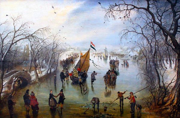 Frozen Lake Digital Art - Winter by Adriaen van de Venne