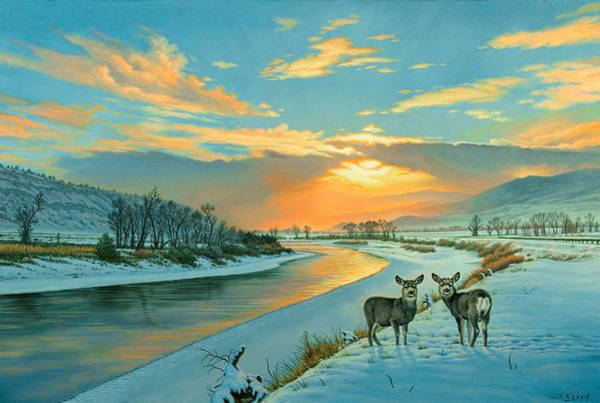 Fawn Painting - Winter Along The Yellowstone by Paul Krapf