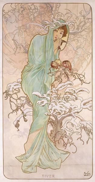 Mucha Painting - Winter by Alphonse Marie Mucha