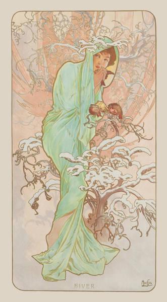Mucha Painting - Winter by Alphonse Mucha
