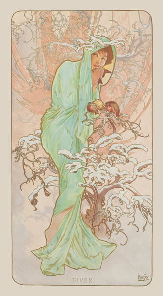 Alphonse Mucha Painting - Winter by Alphonse Mucha