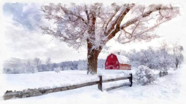 Digital Art - Winter Arrives Watercolor II by Edward Fielding