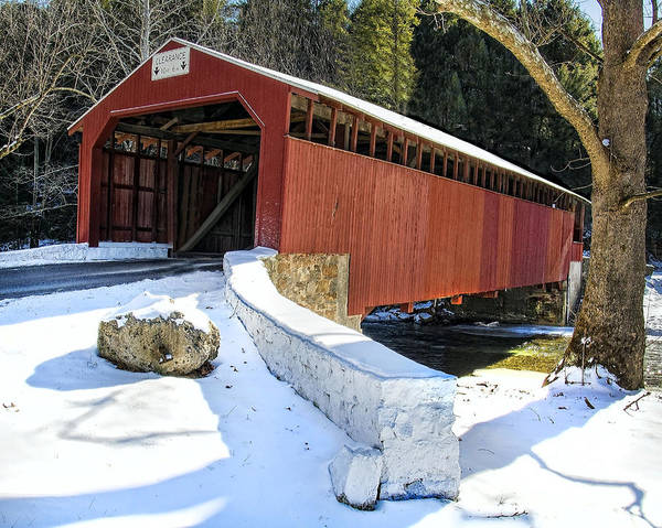 Wall Art - Photograph - Winter At The Little Gap Covered Bridge by Dave Sandt