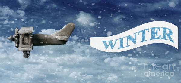 Vintage Airplane Photograph - Winter Banner by Amanda Elwell