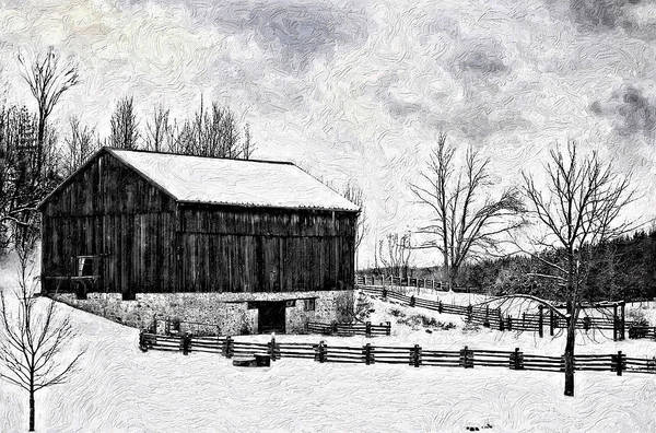 Impasto Photograph - Winter Barn Impasto Version by Steve Harrington