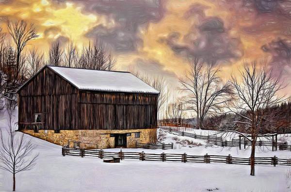 Snow Fence Digital Art - Winter Barn - Paint by Steve Harrington
