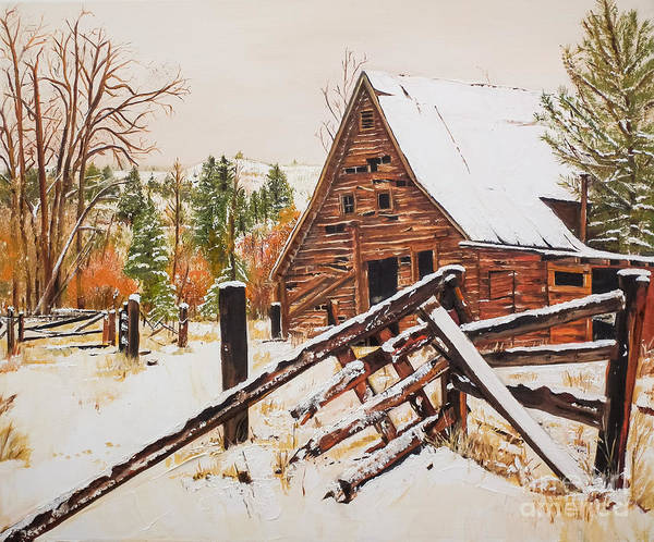 Painting - Winter - Barn - Snow In Nevada by Jan Dappen