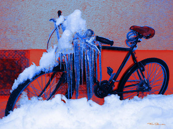 Digital Art - Winter-bike 1 by Theo Danella