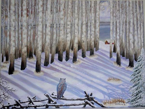 Snow Owl Painting - Winter Birches by Sunny  Kim