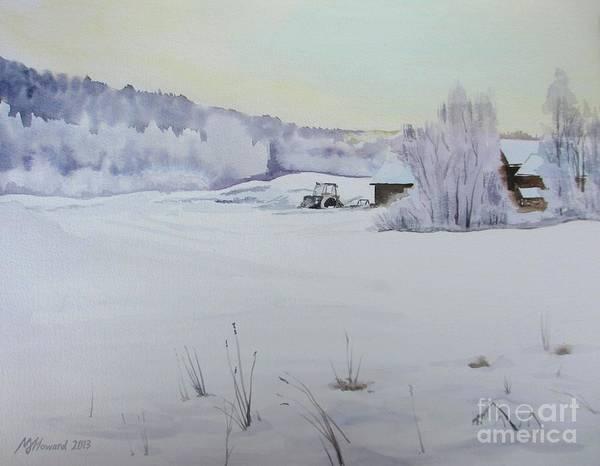 Barn Snow Painting - Winter Blanket by Martin Howard