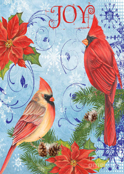 Cardinal Mixed Media - Winter Blue Cardinals-joy Card by Jean Plout