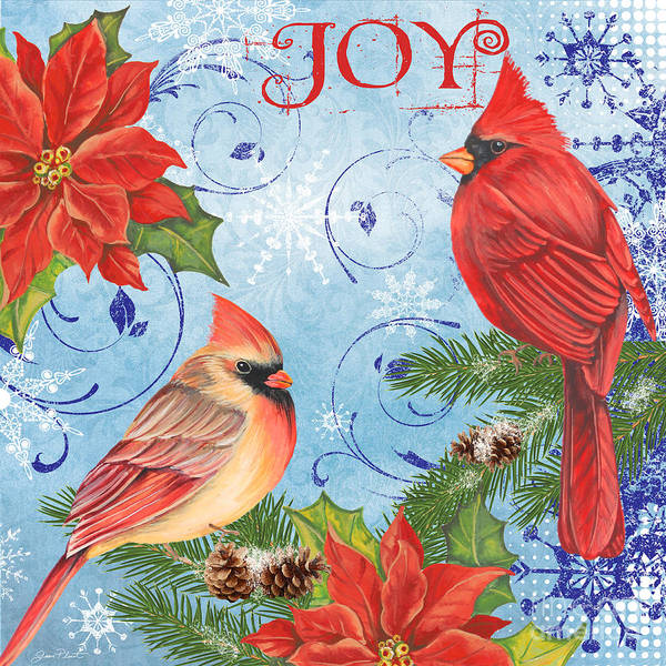 Cardinal Mixed Media - Winter Blue Cardinals-joy by Jean Plout