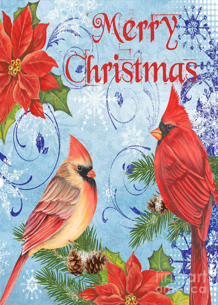 Cardinal Mixed Media - Winter Blue Cardinals-merry Christmas Card by Jean Plout