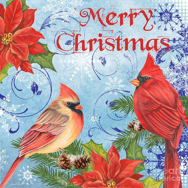 Cardinal Mixed Media - Winter Blue Cardinals-merry Christmas by Jean Plout
