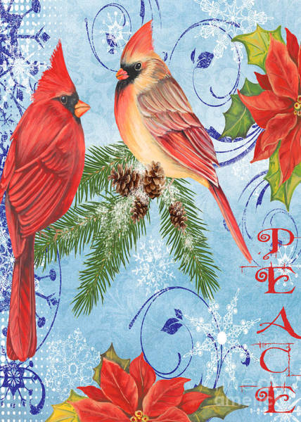 Bird Watercolor Mixed Media - Winter Blue Cardinals-peace Card by Jean Plout
