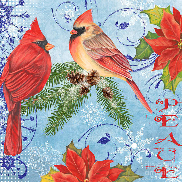 Bird Watercolor Mixed Media - Winter Blue Cardinals-peace by Jean Plout