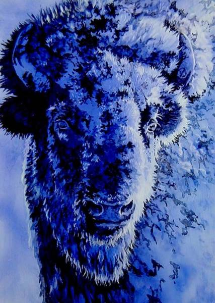 Mixed Media - Winter Buffalo by Tim  Joyner