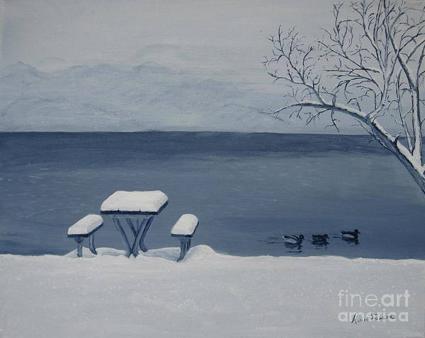 Painting - Winter By The Lake by Alicia Fowler