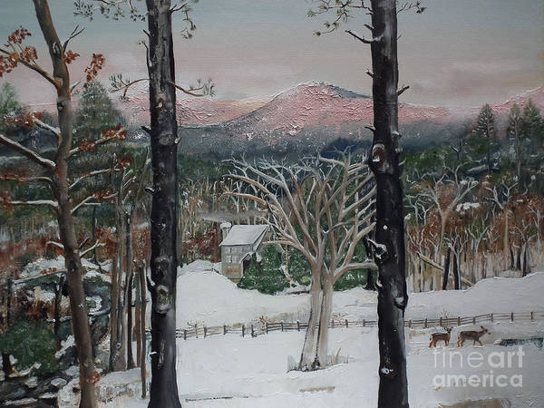 Winter - Cabin - Pink Knob Art Print