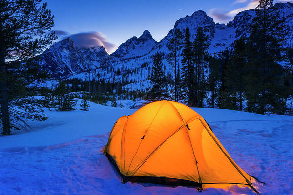 Untamed Photograph - Winter Camp At Dusk Under The Tetons by Russ Bishop