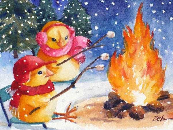 Painting - Winter Camping by Janet Zeh