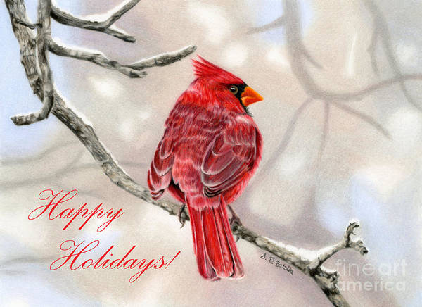 Wall Art - Painting - Winter Cardinal- Happy Holidays Cards by Sarah Batalka