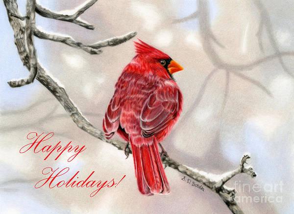 Colored Pencil Drawings Painting - Winter Cardinal- Happy Holidays Cards by Sarah Batalka