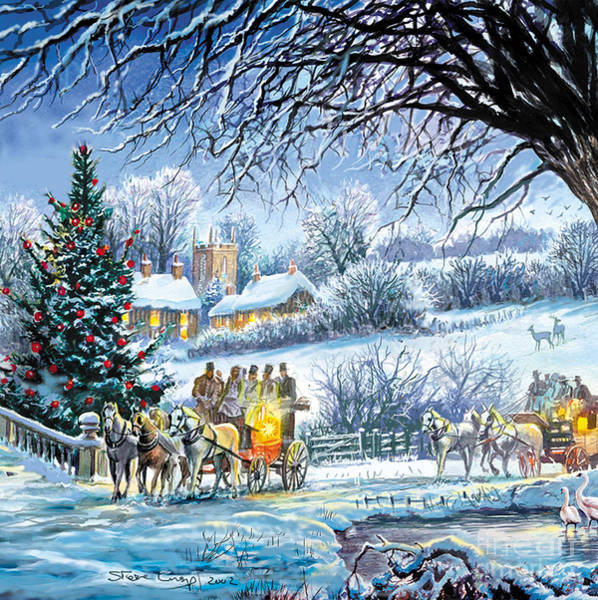 Christmas Celebration Digital Art - Winter Coaches by MGL Meiklejohn Graphics Licensing