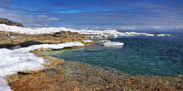 Photograph - Winter Colors At Cave Point by Leda Robertson
