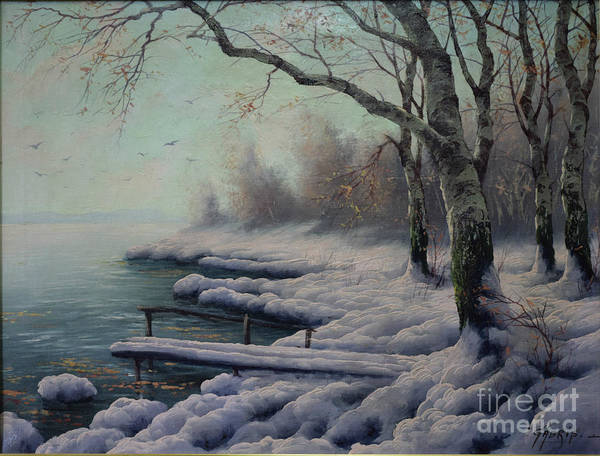 Painting - Winter Coming On The Riverside by K Gabris