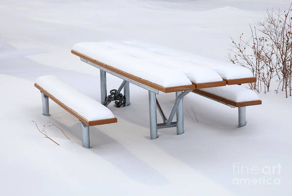 Picnic Tables Photograph - Winter Cover by Mike  Dawson