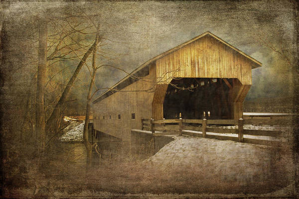 Photograph - Winter Covered Bridge by Randall Nyhof