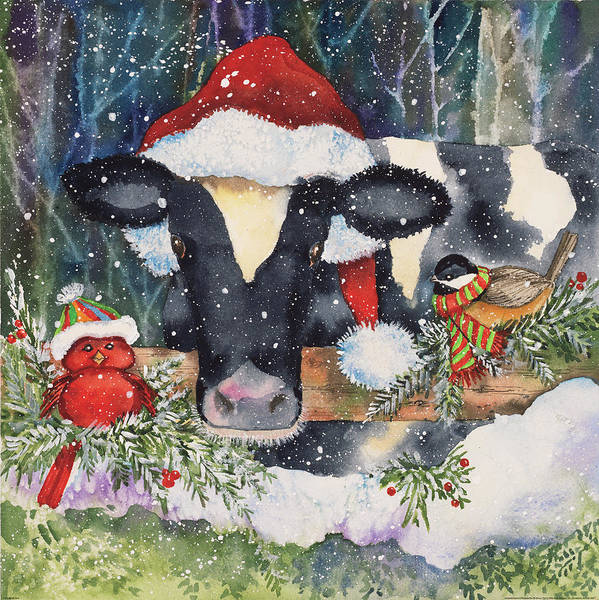 Pine Needles Painting - Winter Cow by Kathleen Parr Mckenna